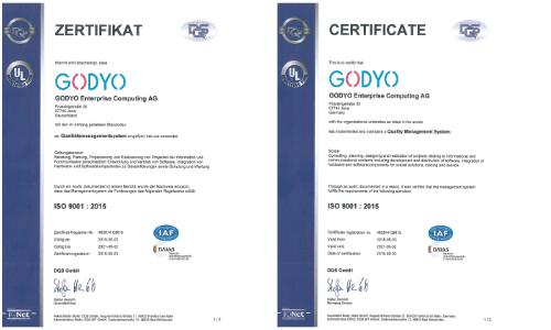 GODYO ISO-9001-2015 Zertifikat