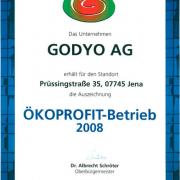 GODYO Auszeichnung als Ökoprofit-Betrieb 2008
