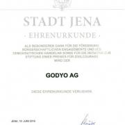 GODYO Ehrenurkunde Stadt Jena 2010